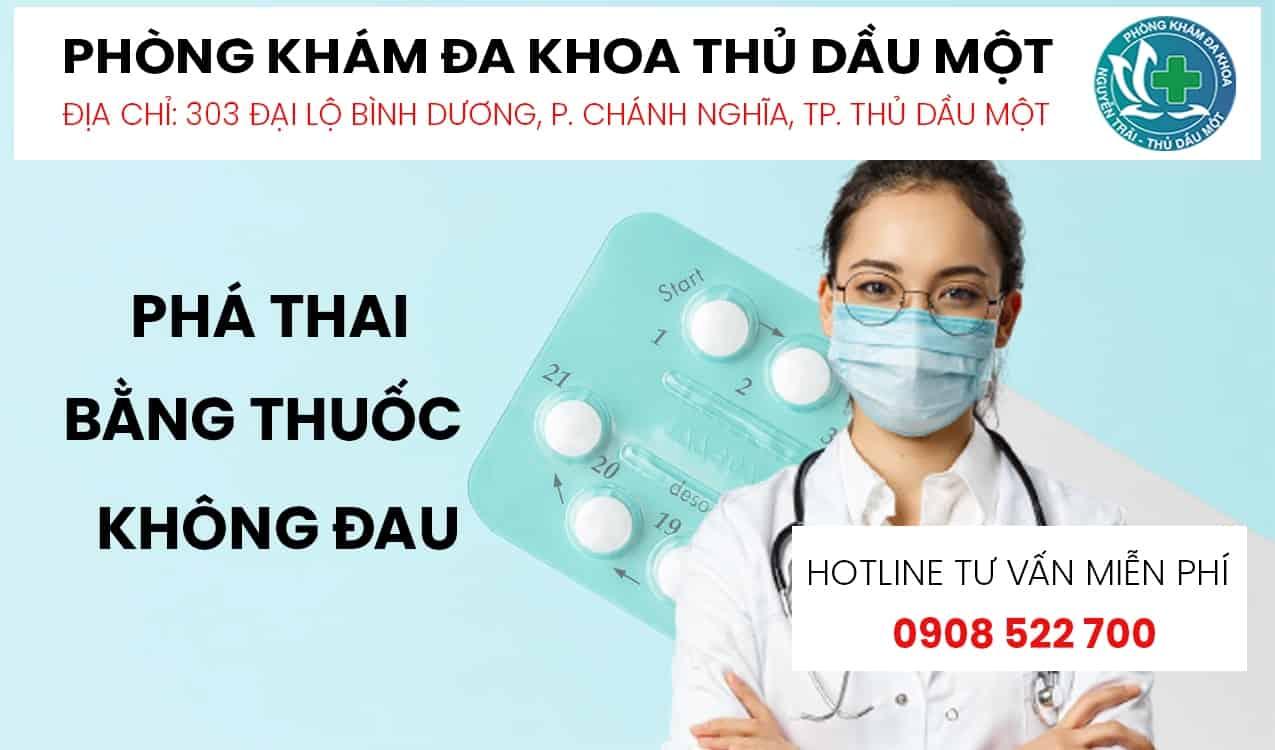 phá thai bằng thuốc không đau Bình Dương