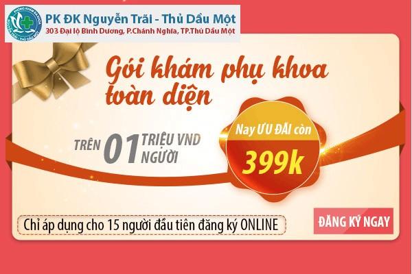 Phòng khám phụ khoa Thủ Dầu Một ưu đãi gói khám phụ khoa giá rẻ 399k