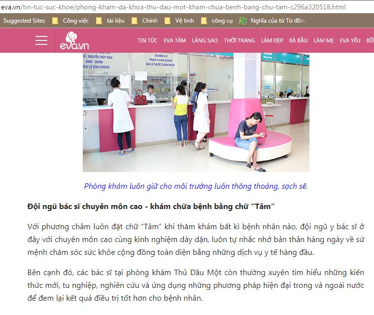 Thông tin về phòng khám Đa Khoa Thủ Dầu Một trên trang tin tức eva.vn